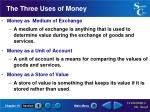 the three uses of money