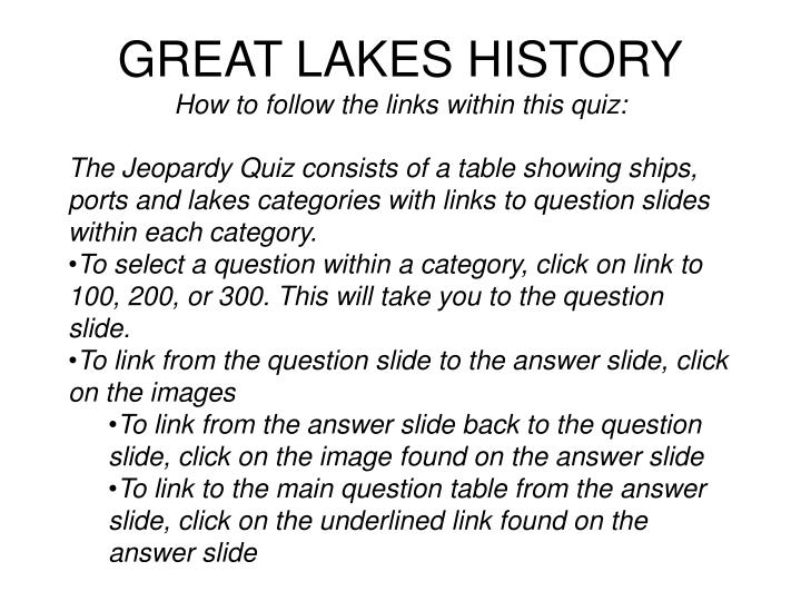 Great lakes history how to follow the links within this quiz