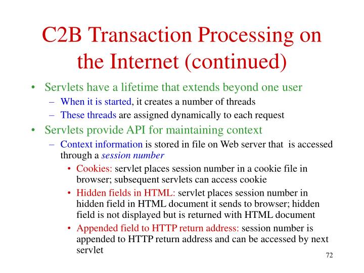 C2B Transaction Processing on the Internet (continued)