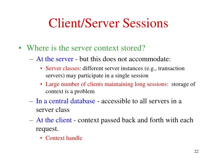 Client/Server Sessions