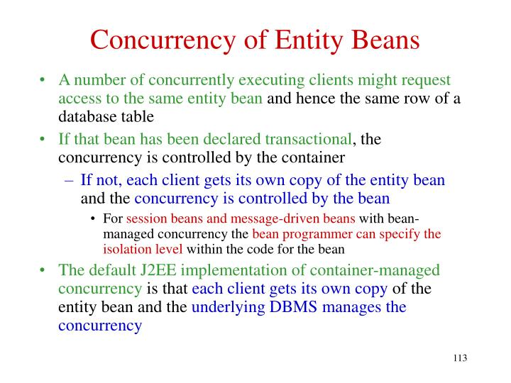 Concurrency of Entity Beans