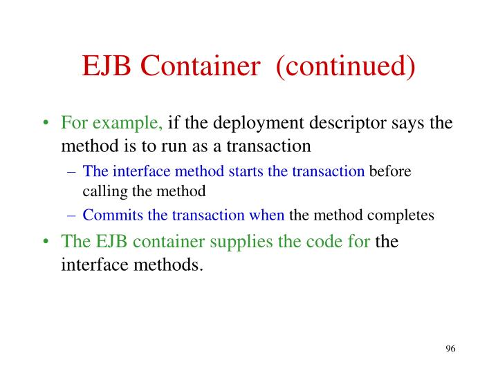 EJB Container  (continued)