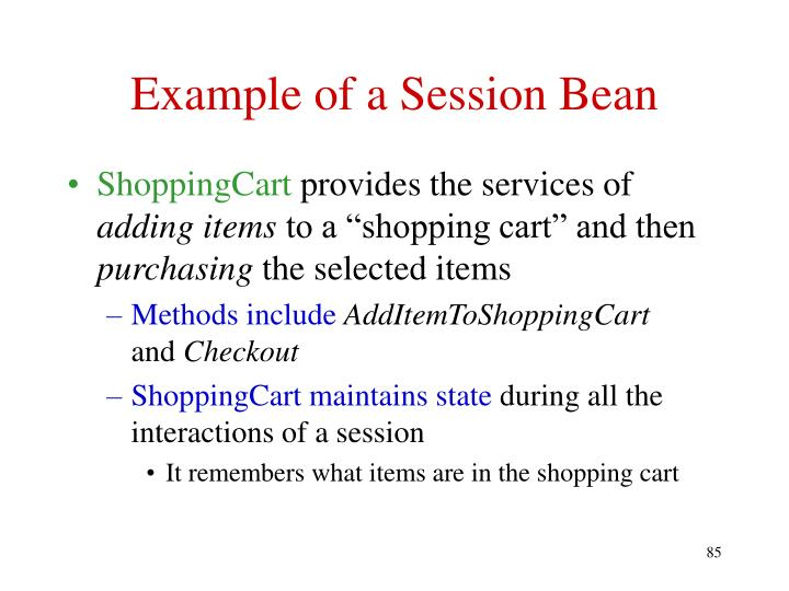 Example of a Session Bean