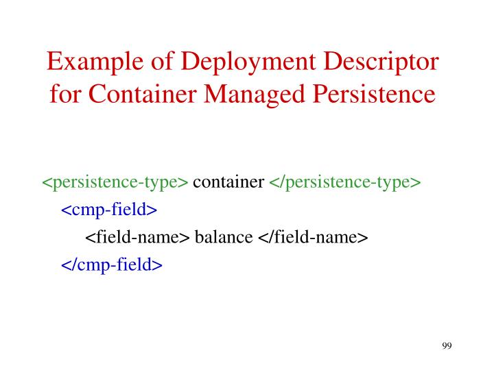 Example of Deployment Descriptor for Container Managed Persistence