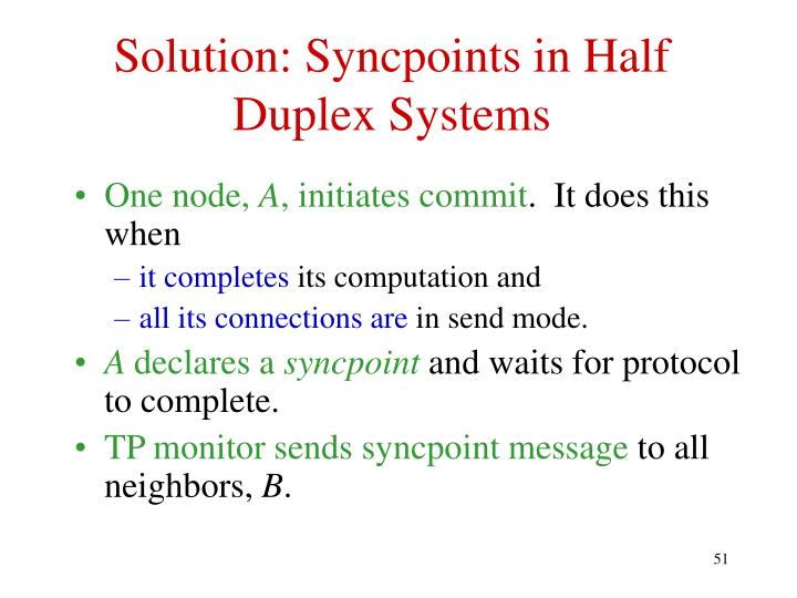 Solution: Syncpoints in Half Duplex Systems