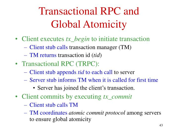 Transactional RPC and