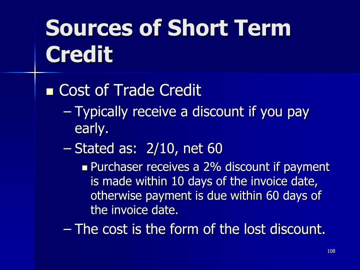 Sources of Short Term Credit