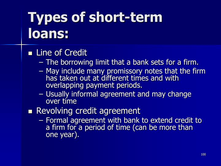 Types of short-term loans: