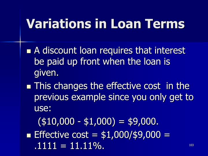 Variations in Loan Terms
