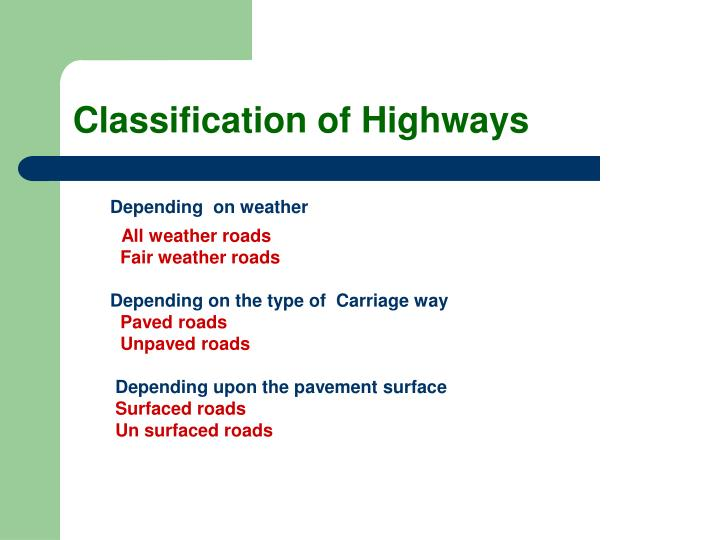 Classification of Highways