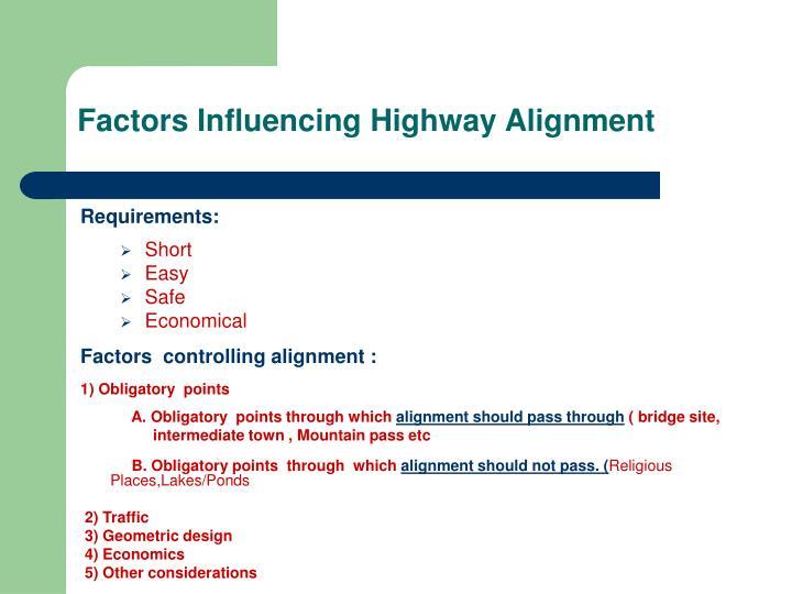 Factors Influencing Highway Alignment