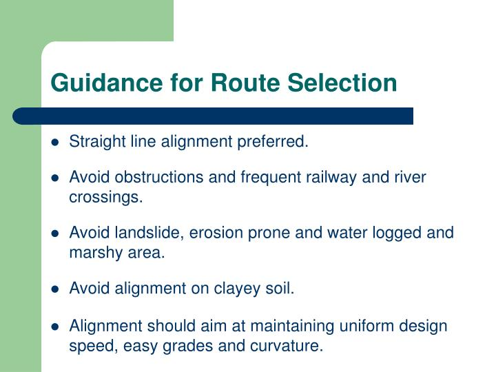 Guidance for Route Selection