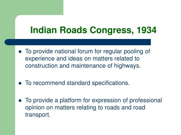 Indian Roads Congress, 1934