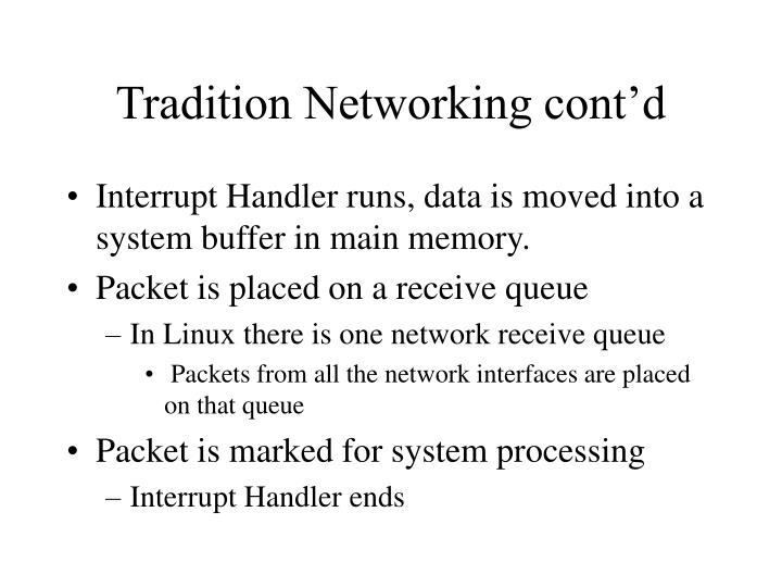 Tradition Networking cont'd