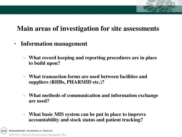 Main areas of investigation for site assessments