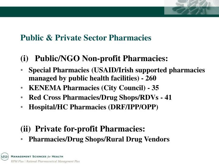 Public & Private Sector Pharmacies