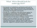 what africa should look for under the bap2