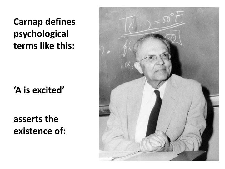 Carnap defines psychological terms like this:
