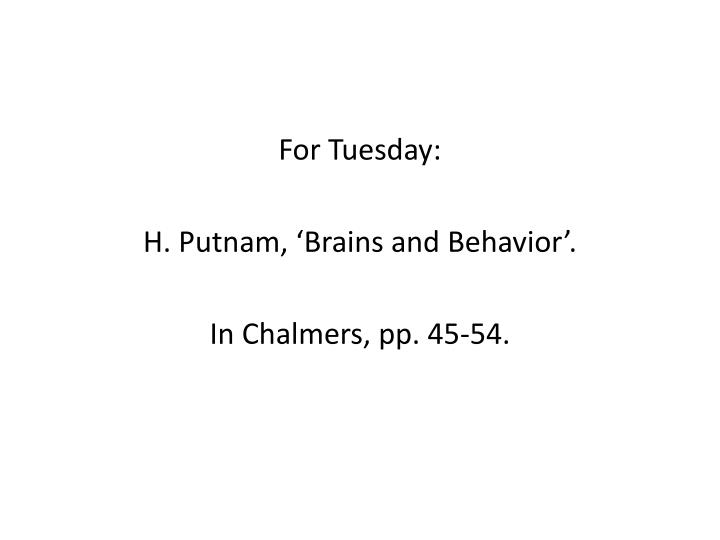 For Tuesday: