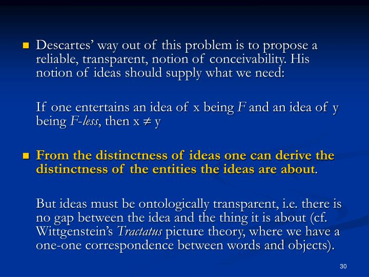 Descartes' way out of this problem is to propose a reliable, transparent, notion of conceivability. His notion of ideas should supply what we need: