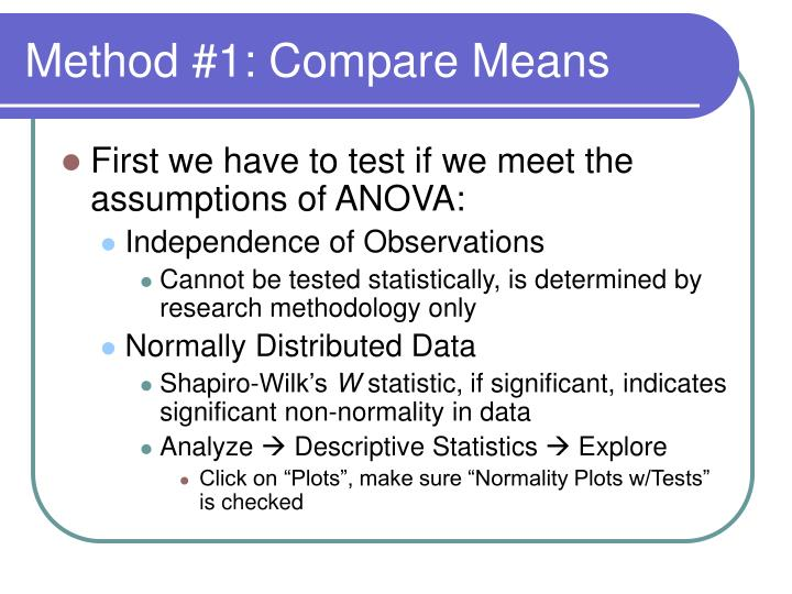 Method 1 compare means
