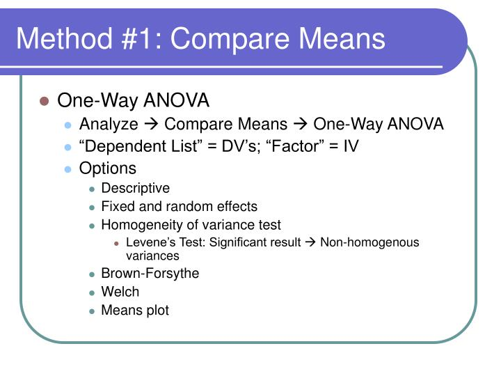 Method #1: Compare Means