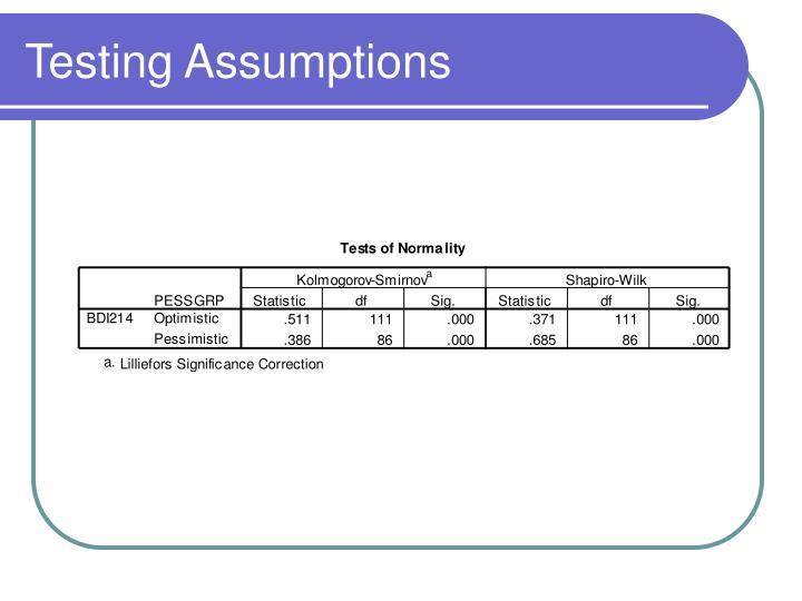 Testing Assumptions
