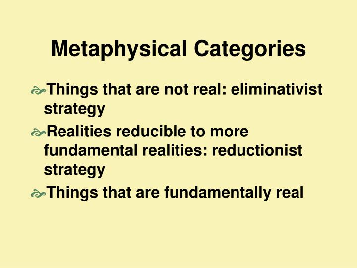 Metaphysical Categories