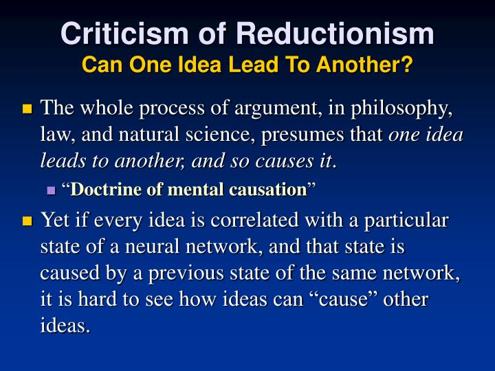 Criticism of Reductionism