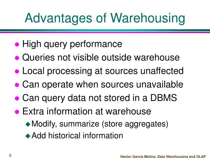 Advantages of Warehousing