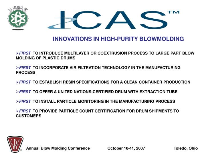 INNOVATIONS IN HIGH-PURITY BLOWMOLDING