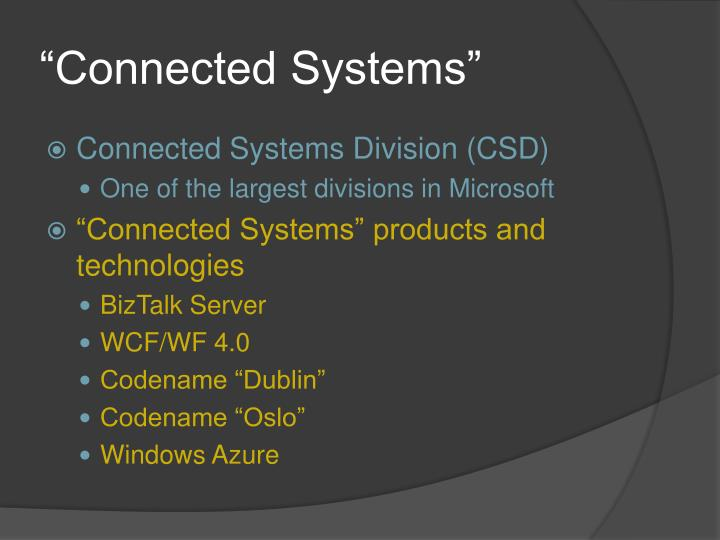"""""""Connected Systems"""""""