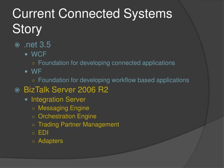 Current Connected Systems Story