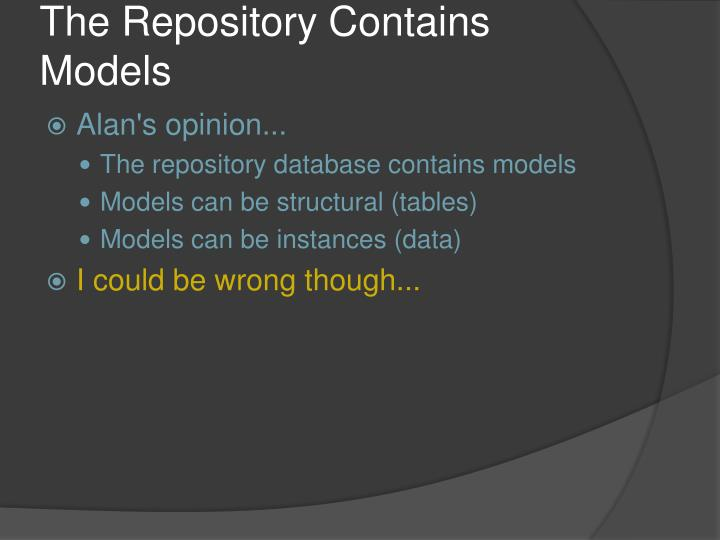 The Repository Contains Models