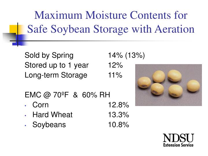 Maximum moisture contents for safe soybean storage with aeration