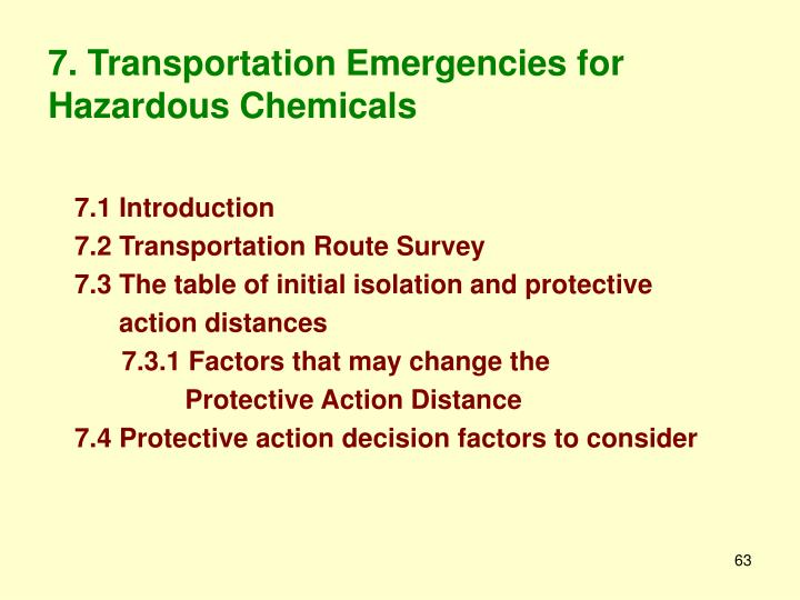 7. Transportation Emergencies for Hazardous Chemicals