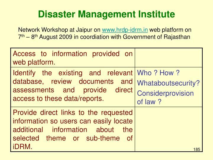 Disaster Management Institute