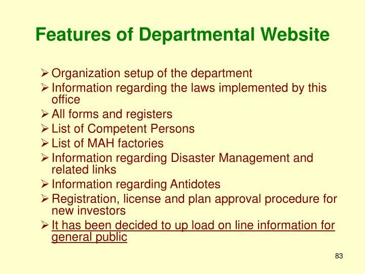 Features of Departmental Website