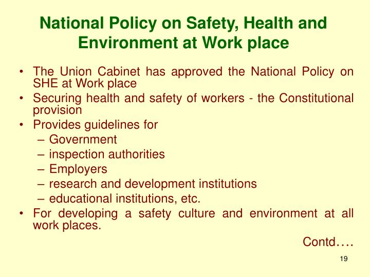 National Policy on Safety, Health and Environment at Work place