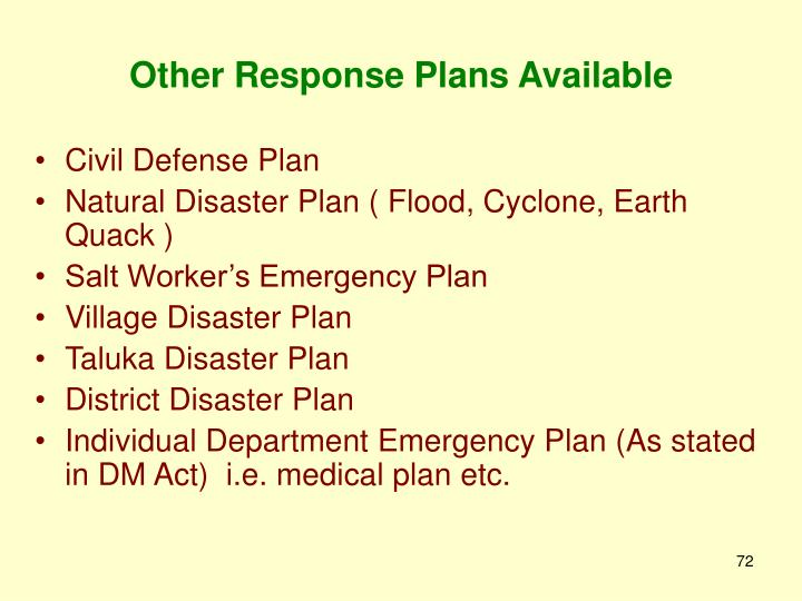 Other Response Plans Available