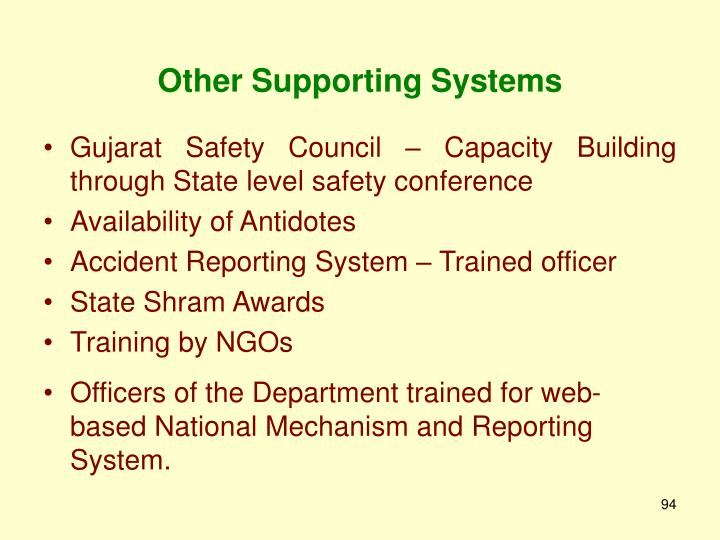 Other Supporting Systems