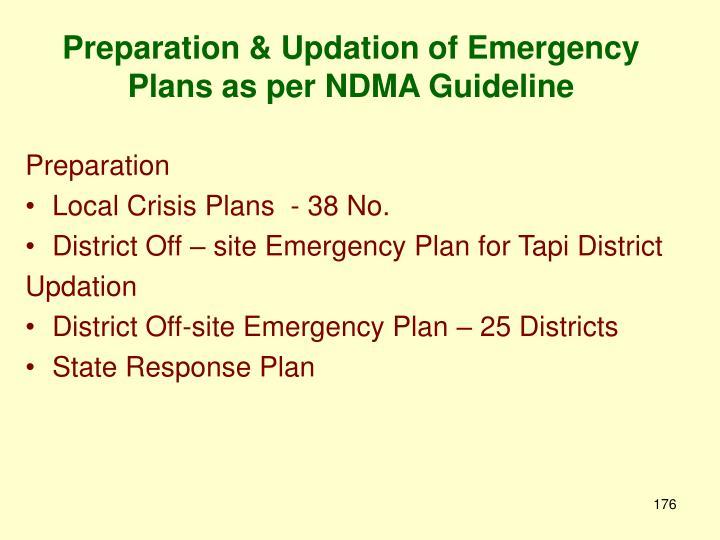 Preparation & Updation of Emergency Plans as per NDMA Guideline
