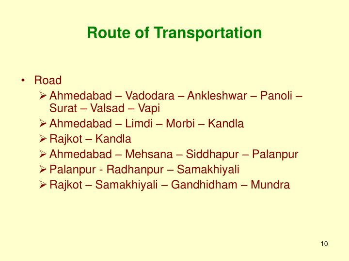 Route of Transportation