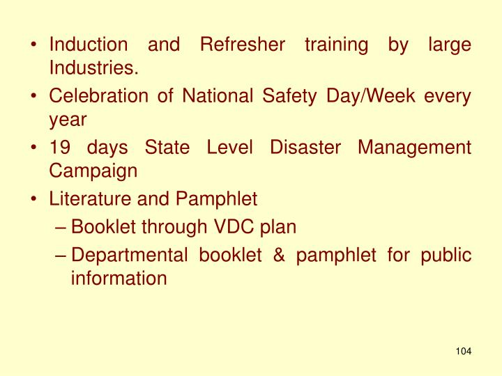 Induction and Refresher training by large
