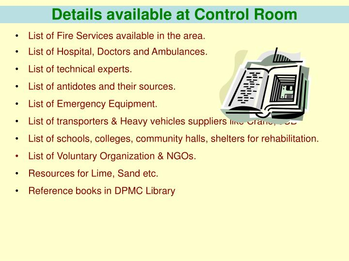 Details available at Control Room