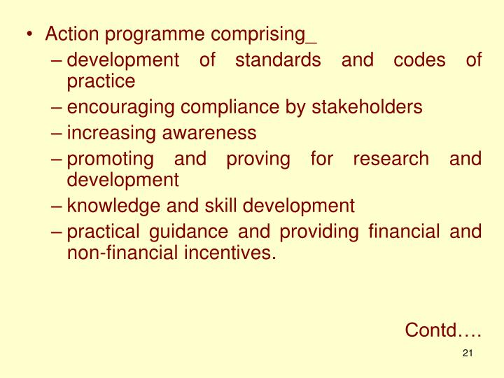 Action programme comprising_