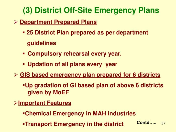 (3) District Off-Site Emergency Plans