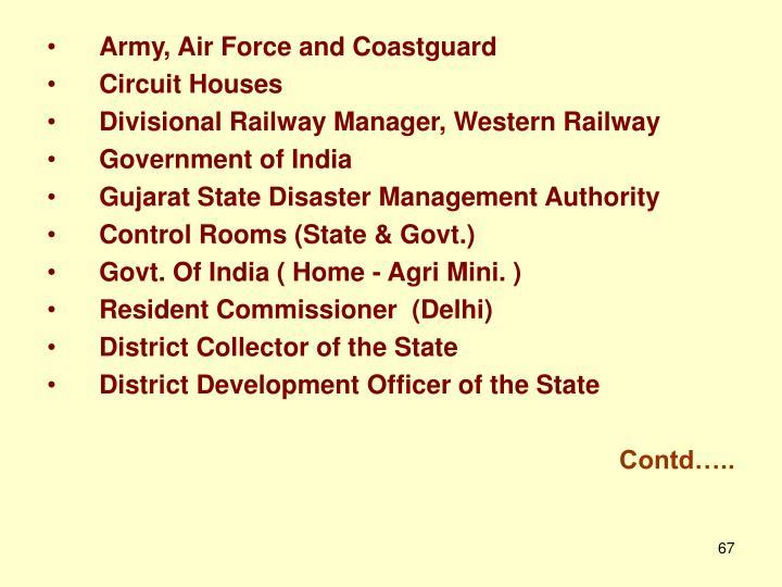 Army, Air Force and Coastguard