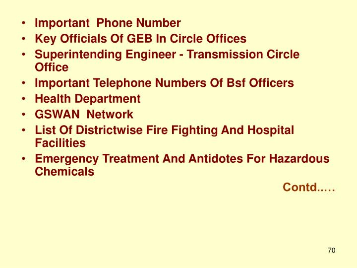 Important  Phone Number