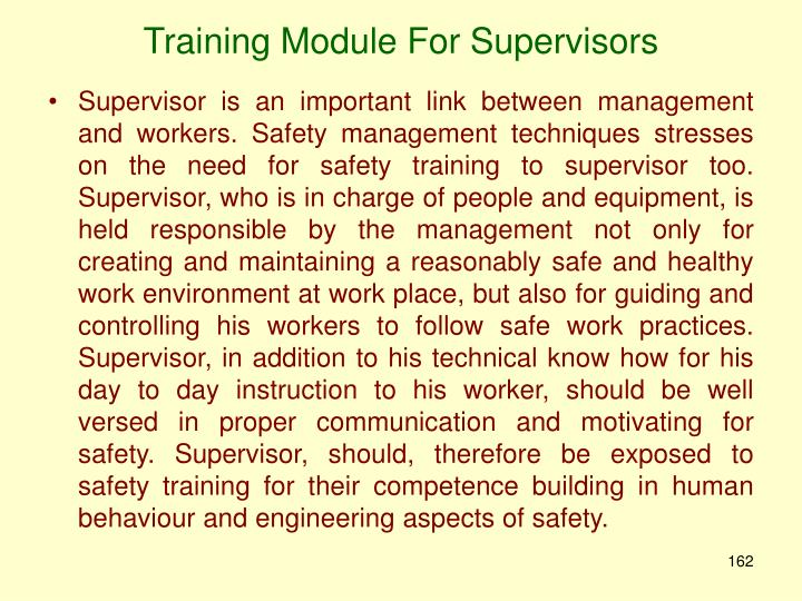 Training Module For Supervisors